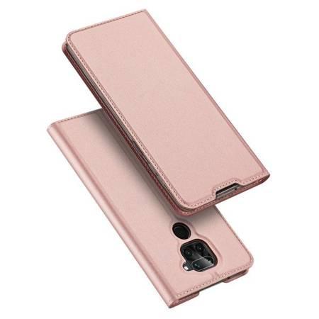 Etui Dux ducis eleganckie skórzane z klapką do Xiaomi Redmi Note 9 różowo złoty