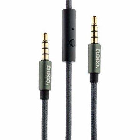 Kabel Audio mini-JACK 3,5mm z mikrofonem Wtyk AUX 1m Jack-Jack Hoco nylonowy