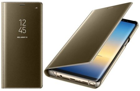 Oryginalne Etui Clear View Standing Cover do SAMSUNG Galaxy Note 8 N950 złoty